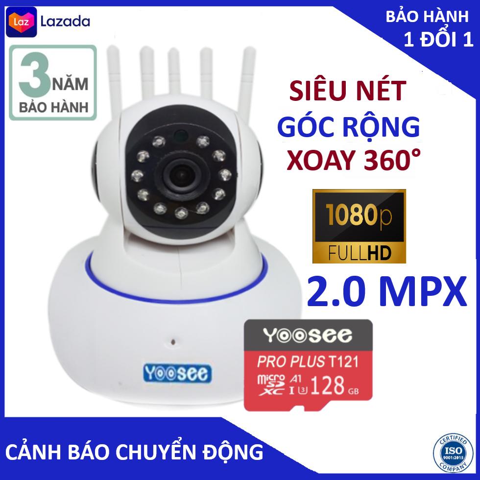 Camera Camera wifi Camera yoosee 5 râu FULL HD 1080 kèm thẻ nhớ 128gb bắt sóng cực khoẻ, cảnh báo chuyển động, kết nối đàm thoại, bảo hành 3 năm 1 đổi 1 trong 7 ngày
