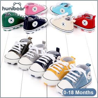 【Hunibear】Baby Chàng Trai Cô Gái Giày Giày Vải Bình Thường Mềm Mại Dưới Chống Trượt Giày Bé 0-18 Tháng