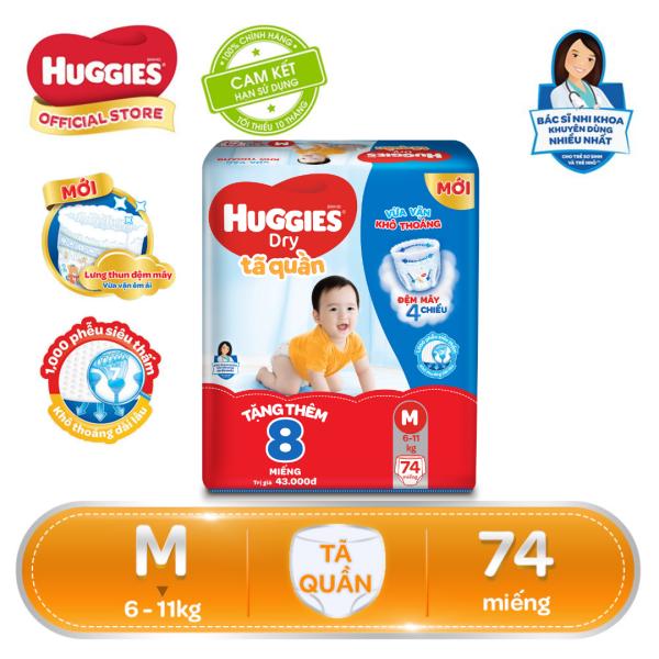 [Tặng thêm 8 miếng trong gói] Tã/bỉm quần Huggies Dry Pants Super Jumbo M74 - Gói 74 miếng (Cho bé 6kg-11kg)