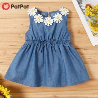 PatPat Không Tay Đồ Trang Trí Hình Hoa Hướng Dương Không Tay Vải Denim Váy Cho Bé Gái-Z