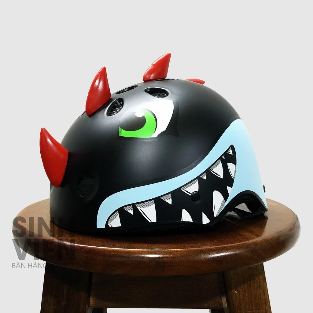 Giá bán Nón bảo hiểm cá mập lai khủng long TRẺ EM cực hót+tặng chong chóng tre gắn nón