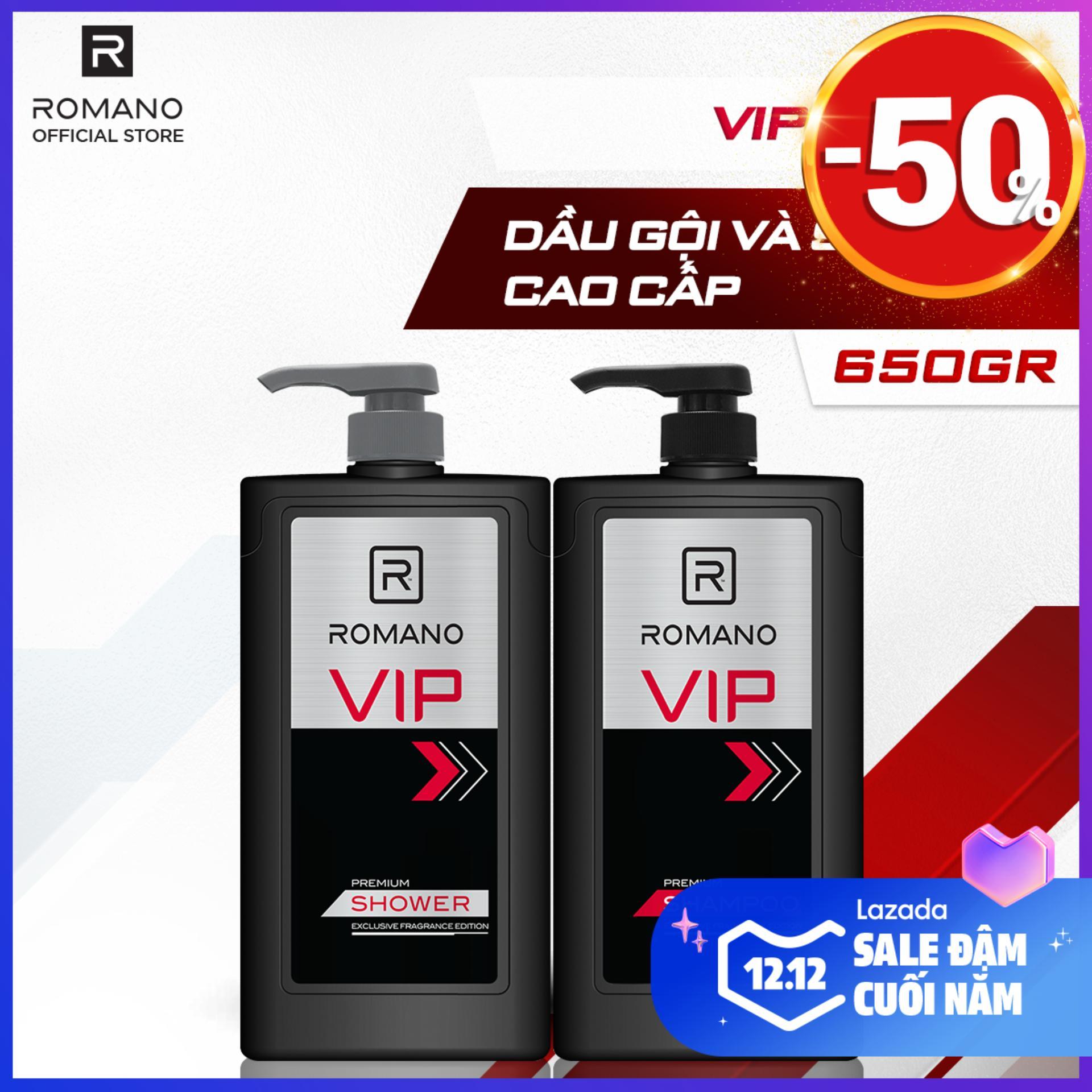 Combo Dầu gội và Sữa tắm cao cấp Romano Vip sang trọng đẳng cấp 650gr cao cấp