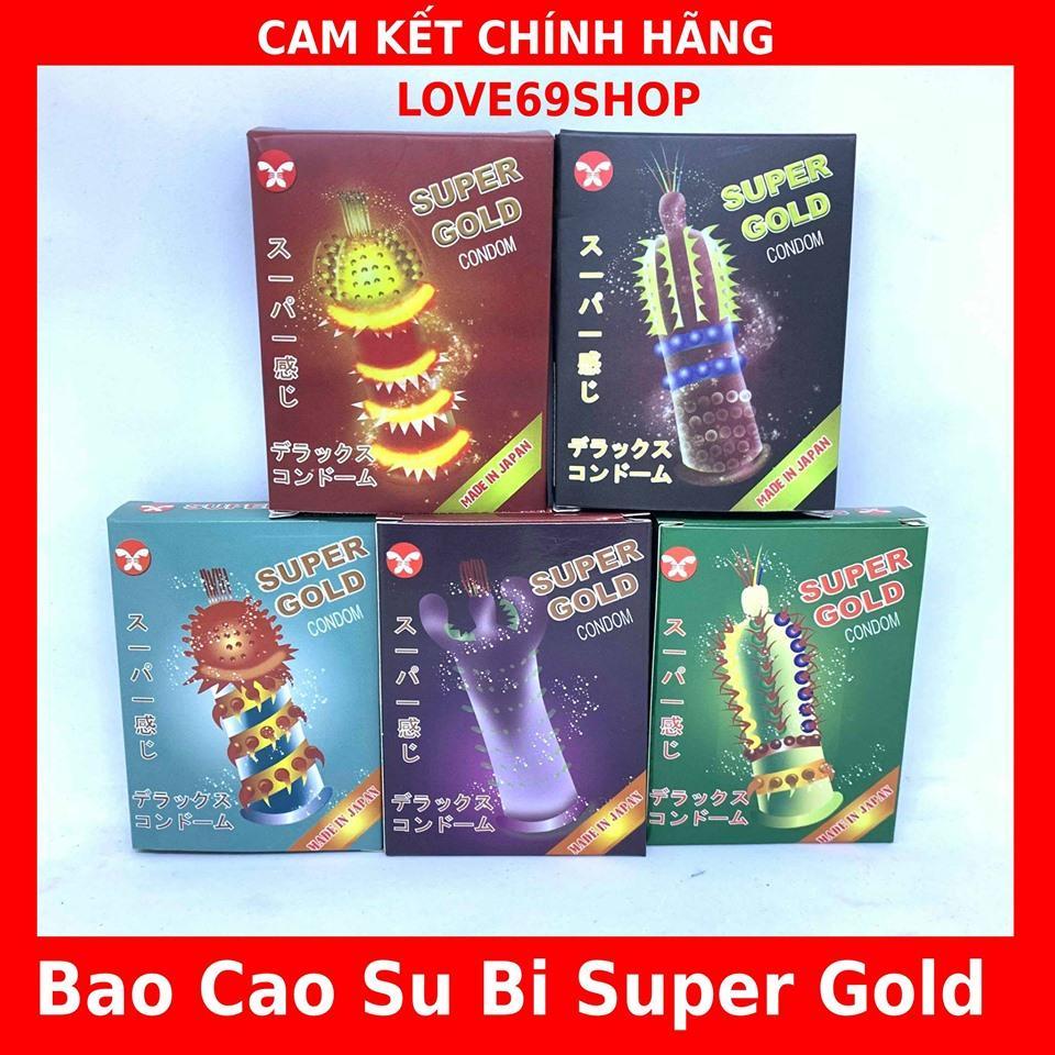 BỘ 5 BAO CAO SU GAI RÂU SUPER GOLD CAO CẤP (PHẦN ĐẦU, THÂN CÓ NHIỀU BI, RÂU, GAI BẰNG SILICON MỀM MẠI)