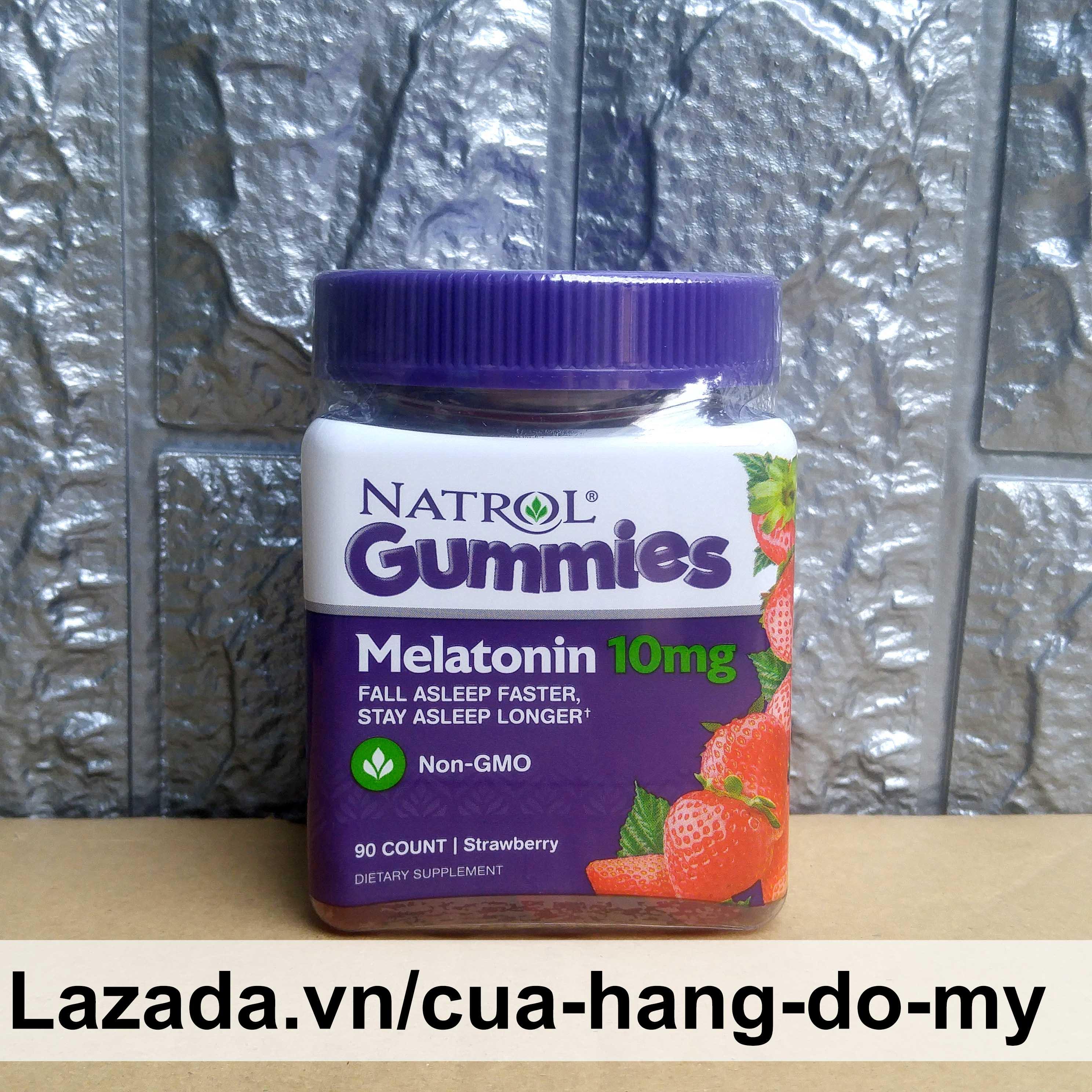 Kẹo dẻo Melatonin Giúp Ngủ Ngon Vị Dâu 90 viên - Natrol Gummies 10mg cao cấp