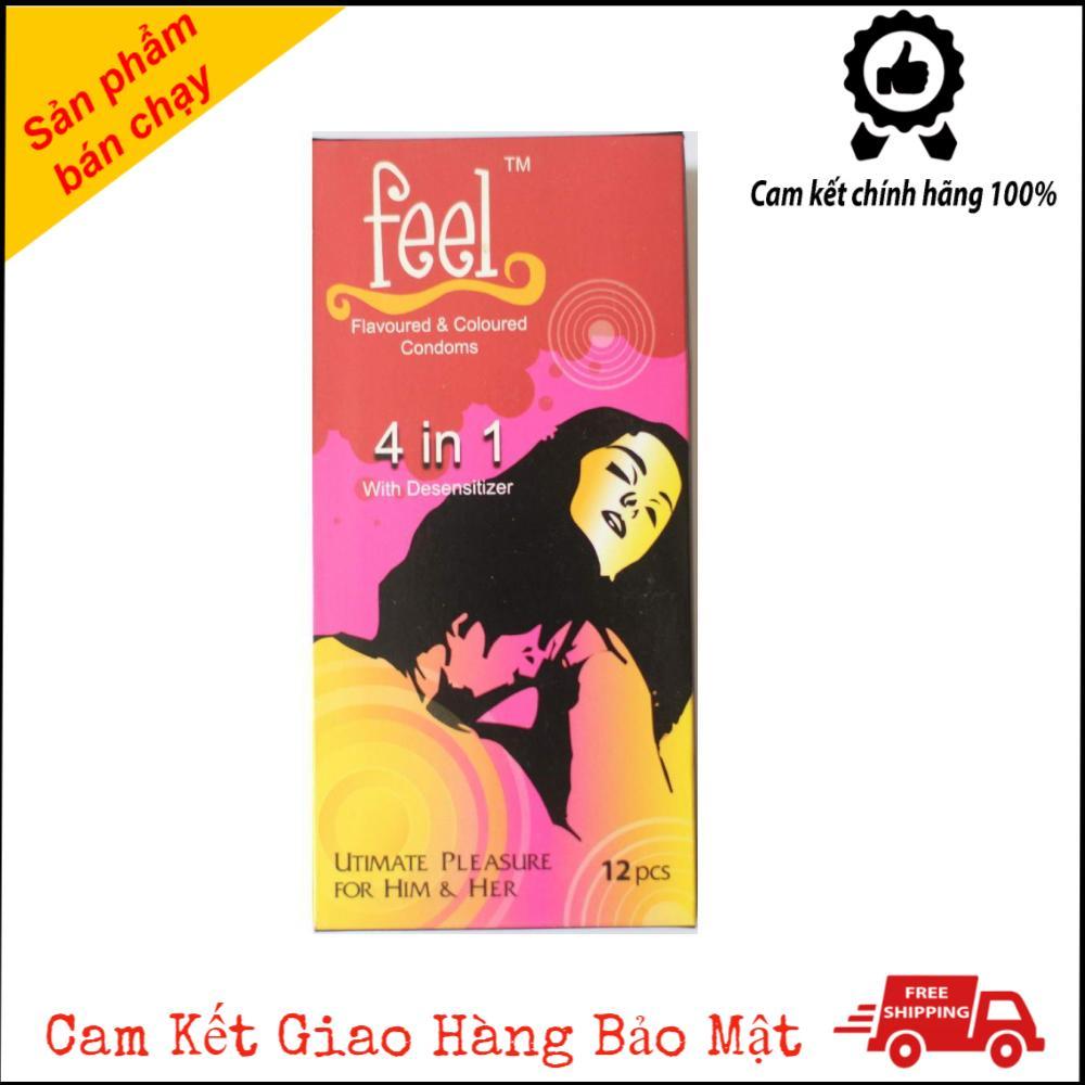 Bao Cao Su Feel 4 in 1 Malaysia Gân Gai Kéo Dài Thời Gian Hộp 12 Cái