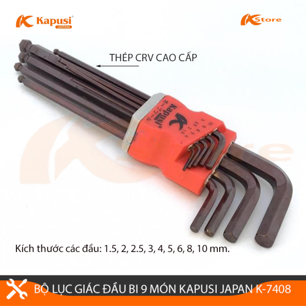 BỘ LỤC GIÁC ĐẦU BI 9 MÓN KAPUSI JAPAN K-7408, BỘ LỤC GIÁC CHỮ L