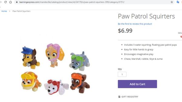 Chó bơi phun nước Paw Patrol - các nhân vật (giao hàng ngẫu nhiên)