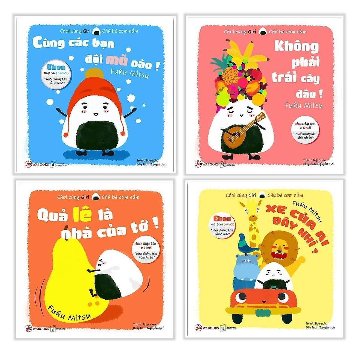 Mua Combo 4 quyển Ehon Nhật Bản Giri chú bé cơm nắm ( Phần 1 )