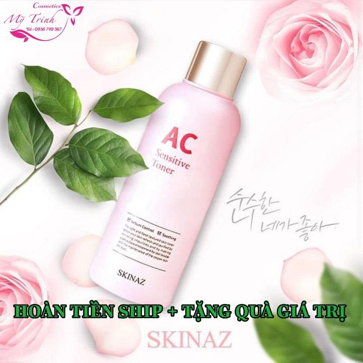 Toner  AC Sensitive Skinaz Nước cân bằng da cao cấp 6 in 1  làm sạch sâu trong da, kiềm dầu, se khít lỗ chân lông, ngăn mụn, trắng  mịn da, mờ nám tàng nhang Hàn Quốc chính hãng