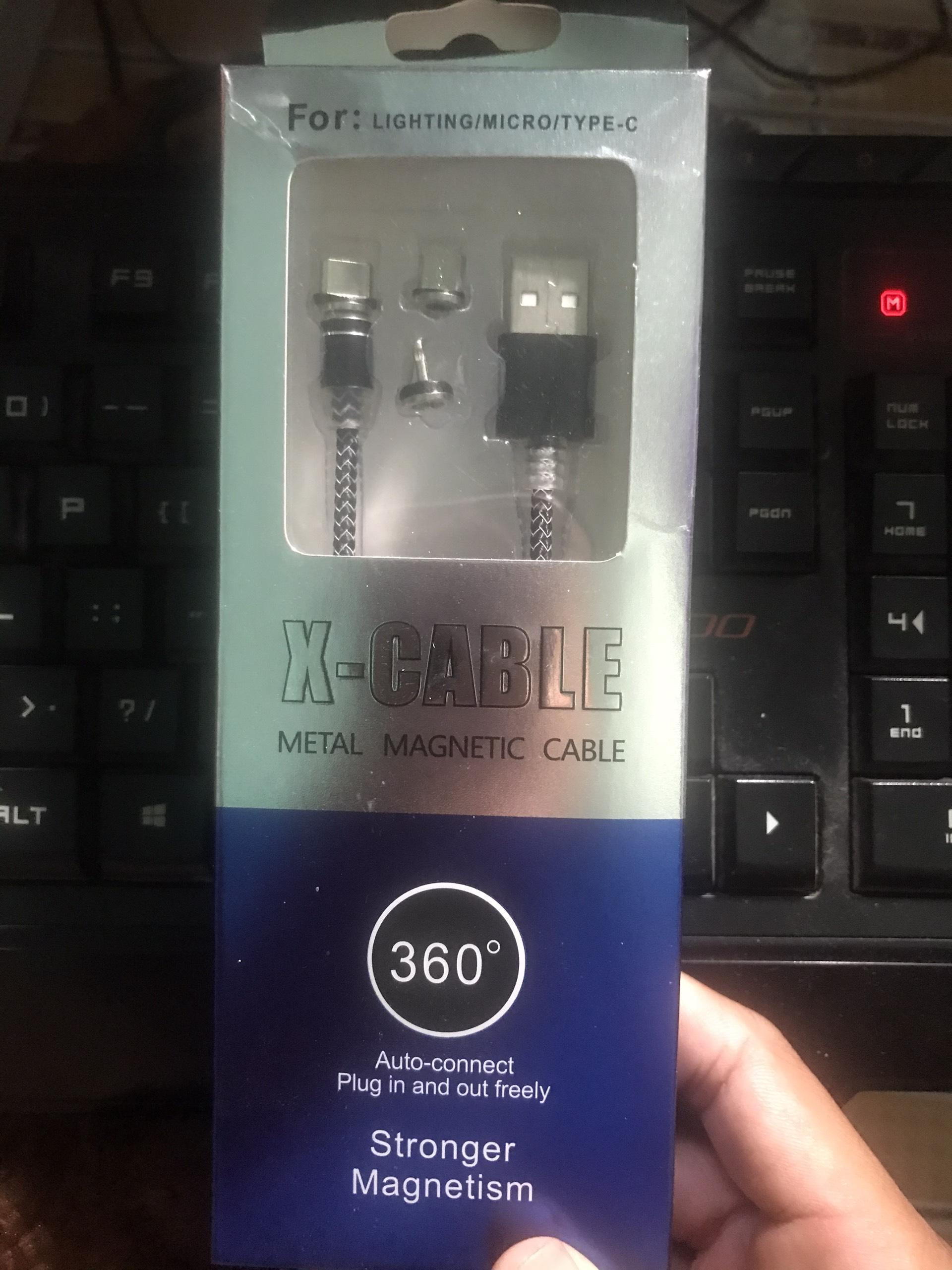 Giá cáp từ 1m nam châm 3 đầu iphone/samsung/type c cao cấp,có đèn led, chống xoắn, tiện lợi