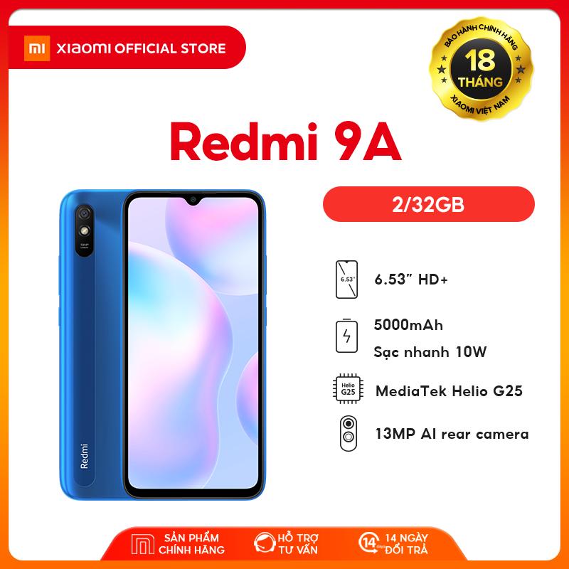 """[XIAOMI OFFICIAL] Điện thoại Xiaomi Redmi 9A 2GB/32GB - Chip MediaTek Helio G25 8 nhân (12 nm), Màn hình 6.53"""" HD+, Camera 13MP, Pin 5000 mAh, Cảm biến nhận diện khuôn mặt - BH Chính hãng 18 tháng"""