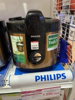 Nồi cơm điện Philips 2 lít HD3132 68 Vàng -hàng trưng bày,Lòng nồi hợp kim nhôm tráng lớp men gốm ProCeramic + chống dính bền tốt. Công nghệ 3D nấu cơm chín đều, chín ngon, giữ ấm lâu. thumbnail