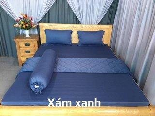 Ga - Drap Giường Lẻ Thun Mát Lạnh Lan Pham Bedding - Màu Xám Xanh thumbnail
