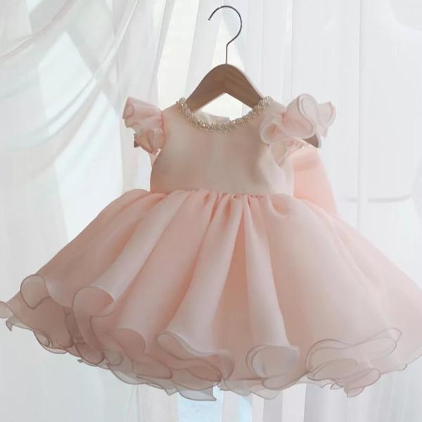 Giá bán Đầm voan xòe , đầm công chúa bé gái màu hồng nhạt đính nơ sau đi tiệc dạo phố sang chảnh