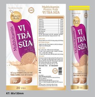 Viên Sủi Multivitamin Pluszzs -Fruits Vị Trà Sữa- Giúp Bổ Sung Vitamin C,B1,B2, Kẽm , Giúp Tăng Cường Thể Lực, Tăng Sức Đề Kháng- Tuýp 20 viên 4g 6