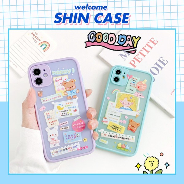 Ốp lưng iphone 7Plus-Ốp lưng iphone Sticker Happy bảo vệ camera dành cho iphone 6 6S 6Plus 6SPlus 7 7Plus 8 8Plus X XS XR Xsmax 11 11Pro 11Promax - V03 - Shin Case
