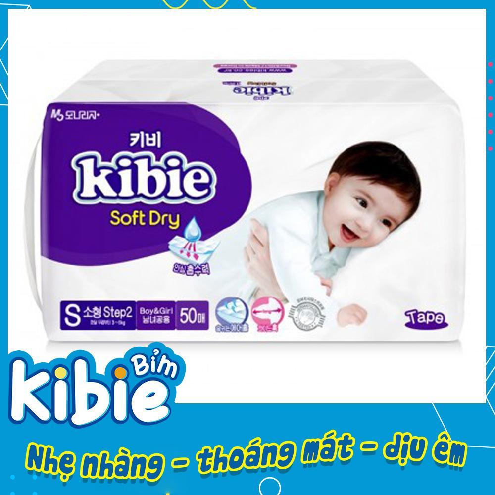 Bỉm Dán Kibie, Tã Dán Hàn Quốc Size S-50 (3-8kg) Khác Biệt So Với Bỉm Bobby, Huggies,Jo, Merries HABDS50