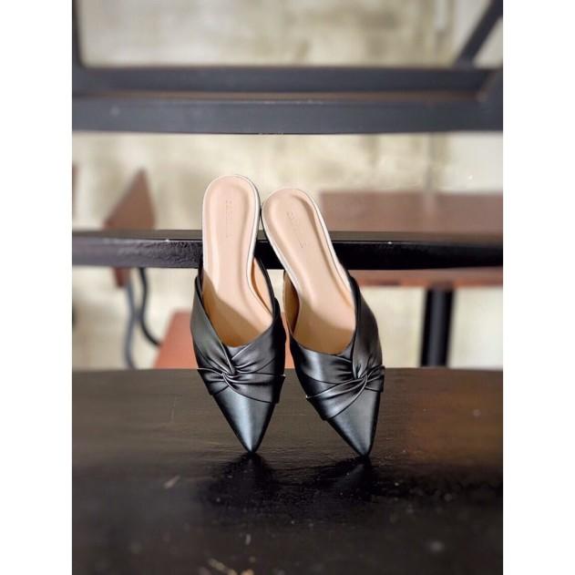 Sục nữ, giày nữ mũi nhọn da mềm kiểu xoắn chéo - A7 giá rẻ