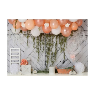 7X5Ft Photography Background Balloon Meadow Willow Green Garden Photo Studio Background Cloth for Family Photo thumbnail