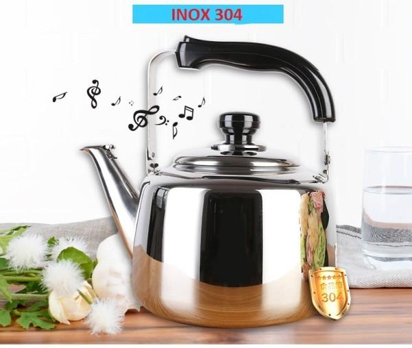 [SÔI CÒI REO] Ấm đun nước inox 4.5 lít có còi reo cực dày , ấm đun inox dùng được bếp từ cao cấp