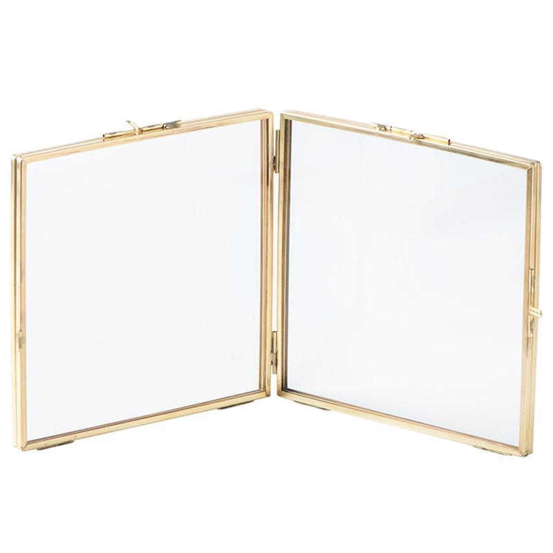 Folded Double-Sided Glass Metal Photo Frame, Botanical Specimen Holder, Electroplated Gold-Covered Display Stand 132x183mm