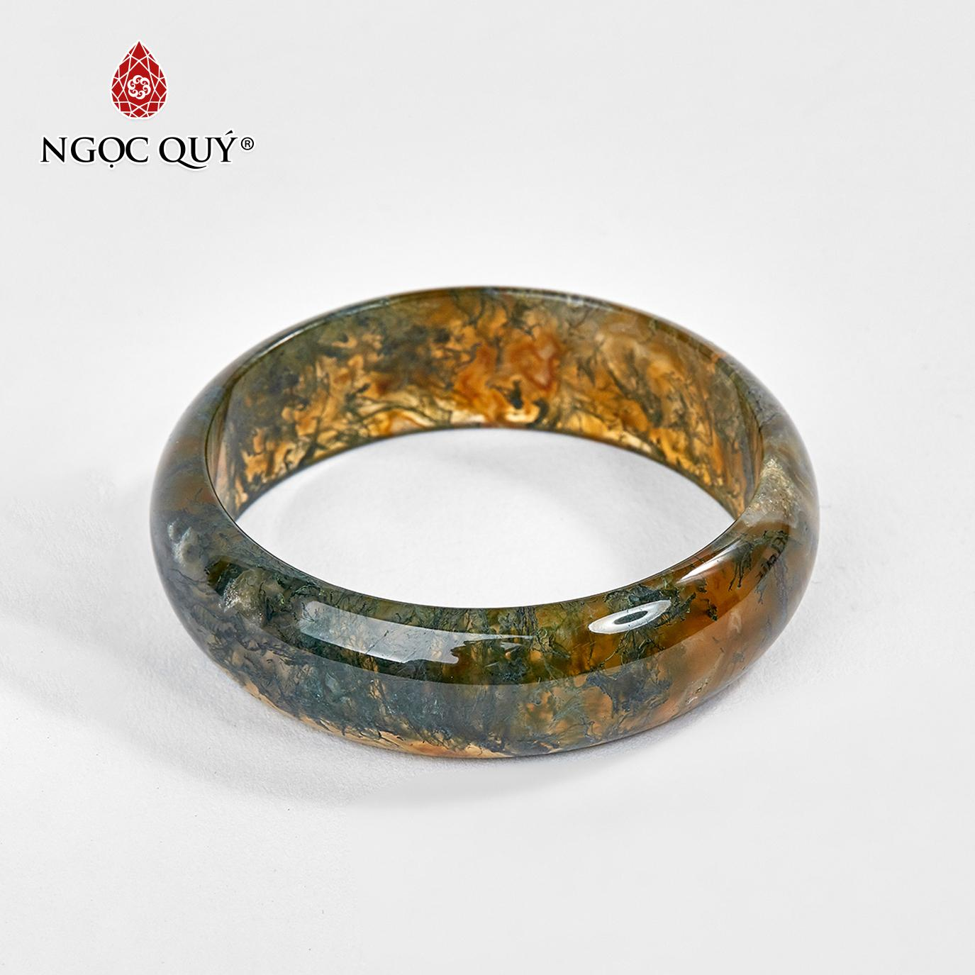 Vòng tay đá băng ngọc thủy tảo huyết mệnh hỏa,thổ (màu xanh rêu) - Ngọc Quý Gemstones