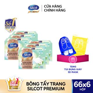 [Tặng Túi Đựng Giày] Bộ 6 Hộp bông trang điểm (Bông tẩy trang) cao cấp Silcot Premium 66 miếng hộp thumbnail