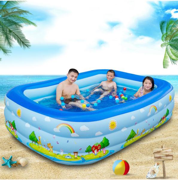 [XẢ KHO BỂ BƠI ] Bể bơi phao trẻ em Bể bơi mini cho bé trai Bể bơi phao 2 tầng cỡ lớn cho bé và đại gia đình dài 1m2 cm. loại dày dặn có tặng kèm( miếng vá )