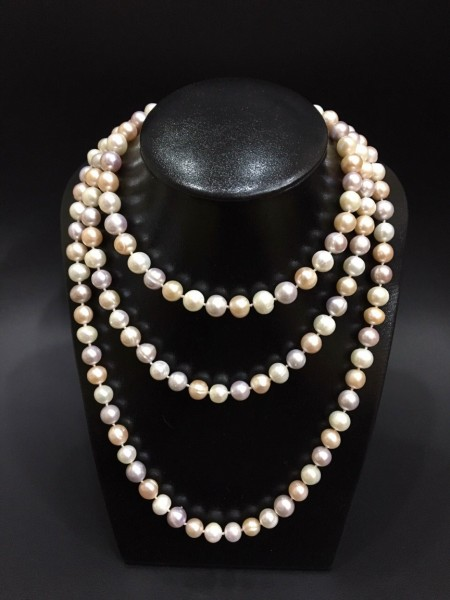 Chuỗi cổ Ngọc trai Đan dài phối trắng Hồng tím