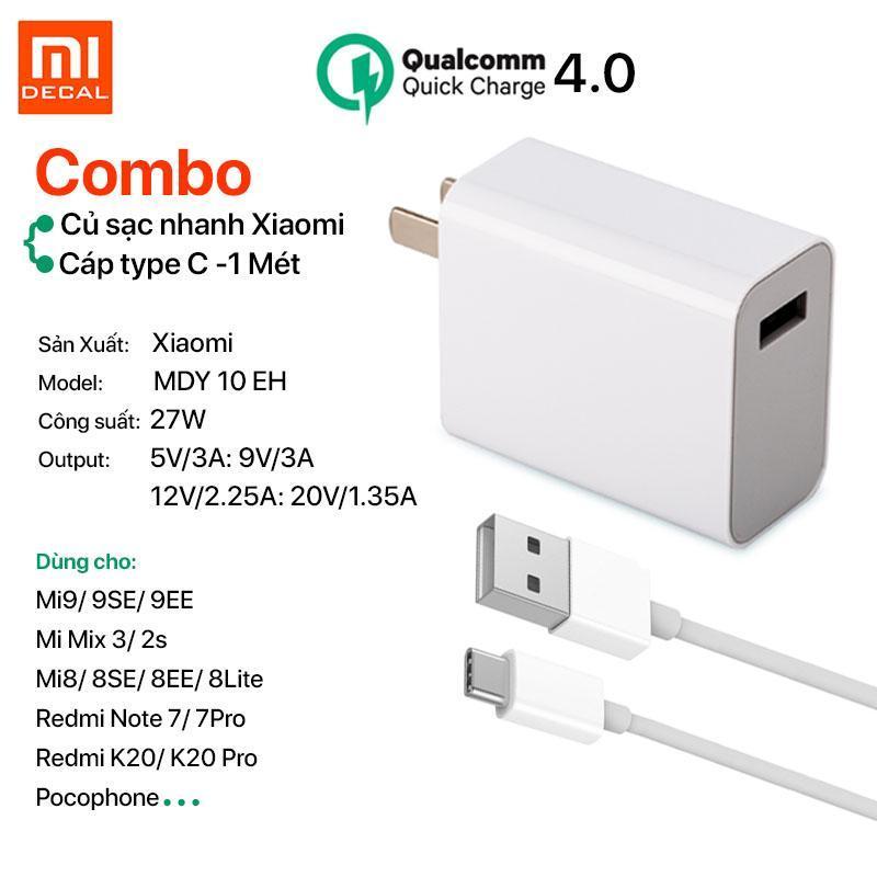 [ Củ sạc + Cáp type-C] Bộ sạc nhanh Xiaomi 27W Quick Charge 4.0 - Trắng