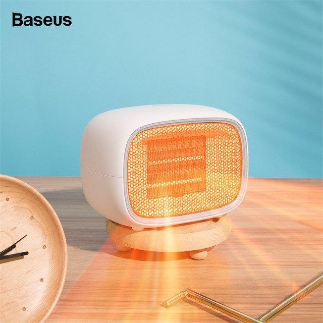 Máy sưởi ấm mini xách tay hoặc để bàn đa năng công suất 500W dùng cho gia đình hoặc văn phòng nhỏ thương hiệu Baseus Warm Fan - tặng cáp sạc điện thoại 20cm