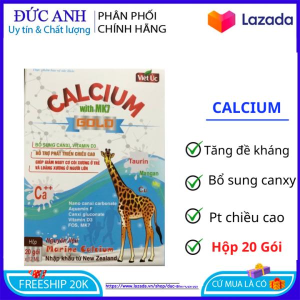 Canxi sữa Calcium with Mk7 Gold tăng chiều cao, chắc khỏe xương cho bé giúp bé ăn ngon ngủ ngon – Hộp 20 gói