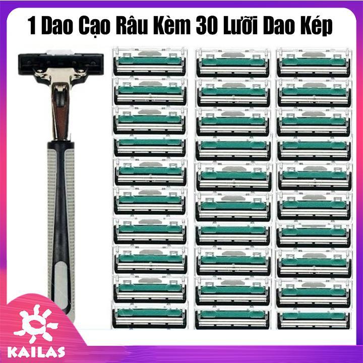 Set dao cạo râu  31 món- 1 cán dao kèm 30 lưỡi dao kép - KAILAS tốt nhất