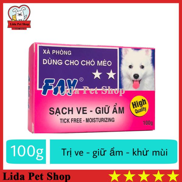 [Lấy mã giảm thêm 30%]HN- Xà phòng tắm trị ve ghẻ bọ chét dưỡng lông cho chó mèo - Fay 2 sao hồng 100g - Lida Pet Shop