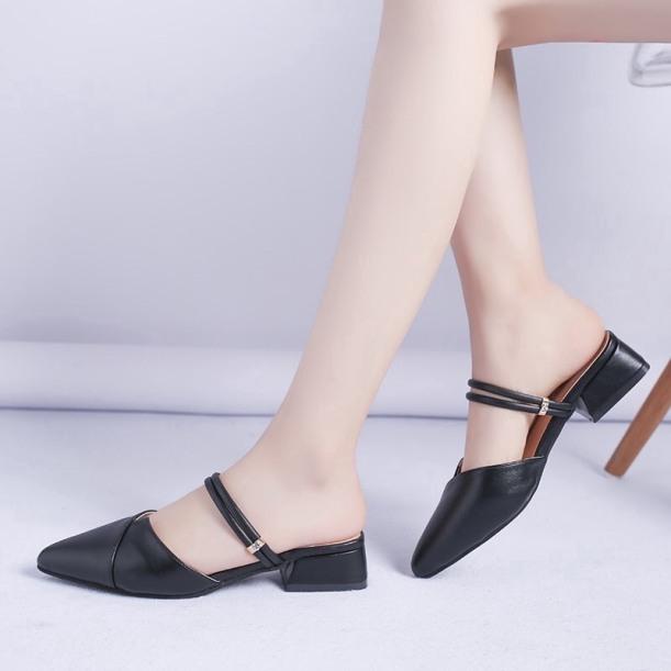 Sandal cao gót nữ 2p mũi nhọn 2 quai ngang siêu đẹp có thể đi được 2 kiểu tùy sở thích giá rẻ