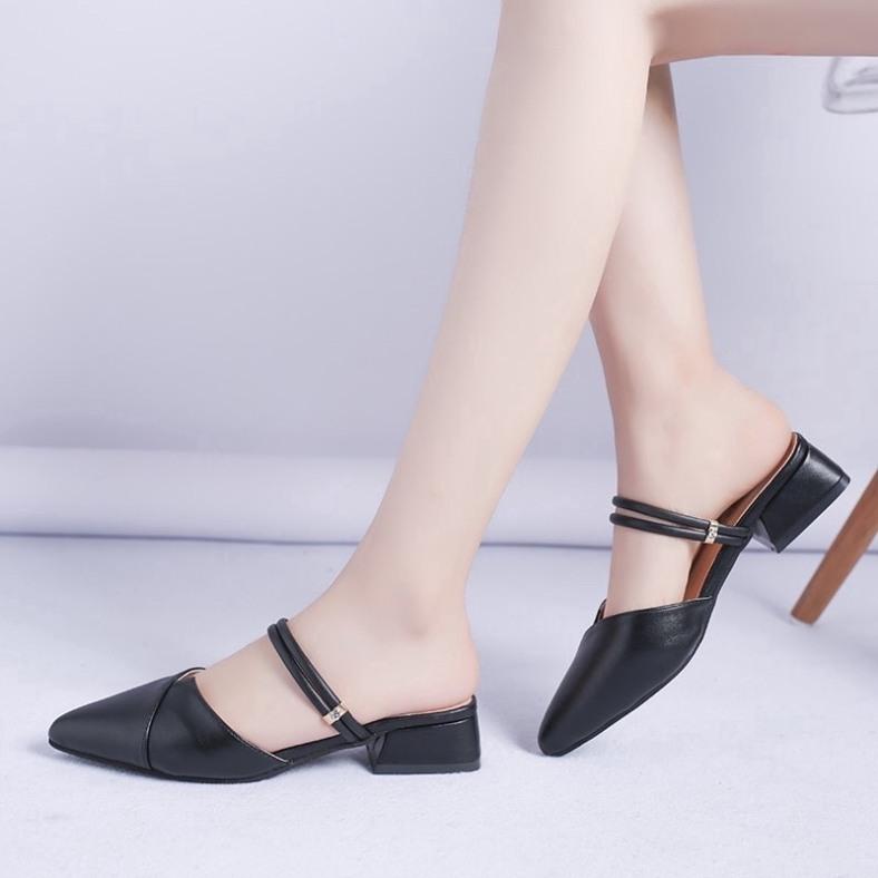 Sandal cao gót nữ 3p mũi nhọn 2 quai ngang siêu đẹp có thể đi được 2 kiểu tùy sở thích giá rẻ