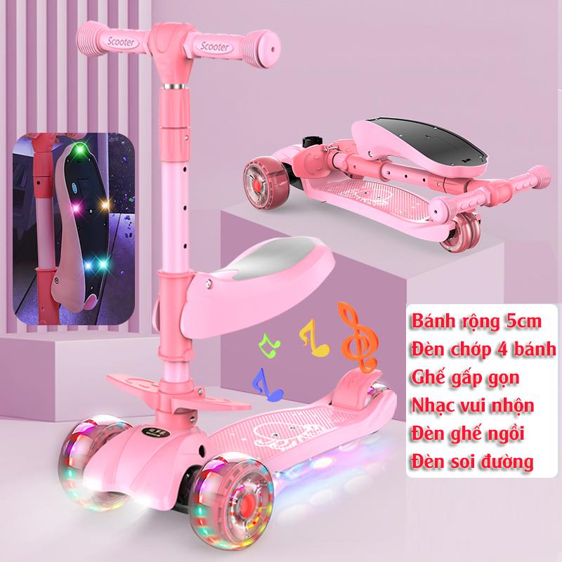 Mua {Tay lái và ghế nâng hạ độ cao} Xe scooter 3 bánh tự cân bằng, 3in1 có ghế gấp gọn, có nhạc và đèn chiếu sáng (hồng) Cao cấp