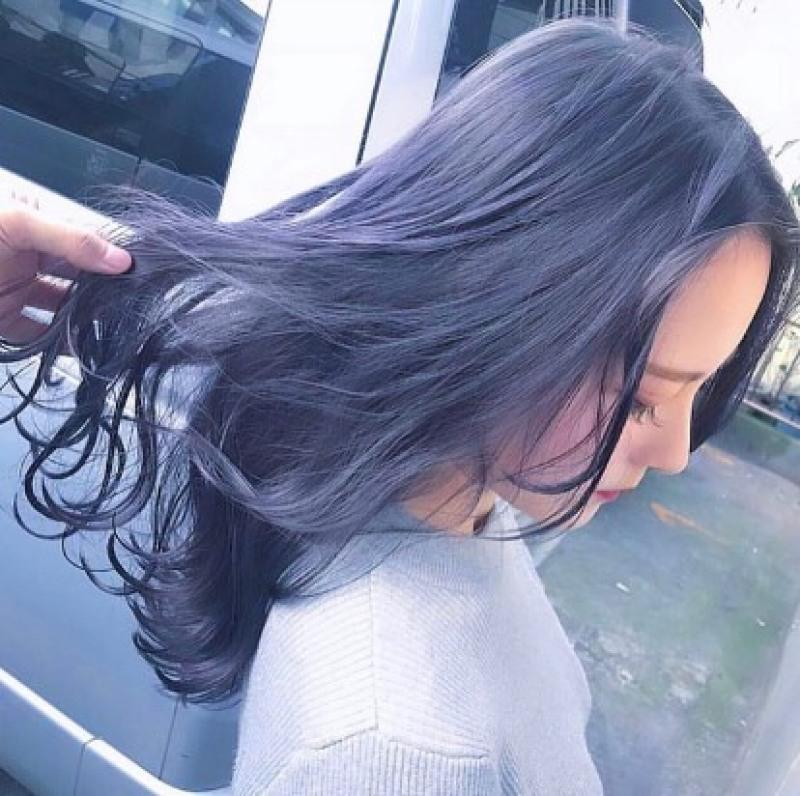 Thuốc nhuộm tóc màu Blue khói + Tặng trợ nhuộm, gang tay giá rẻ