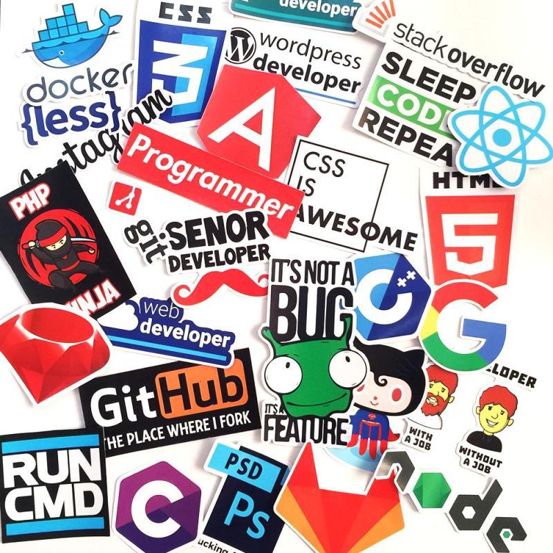 Bộ 26 Sticker Logo Developer Programing Lập Trình Viên - Chống Thấm Nước