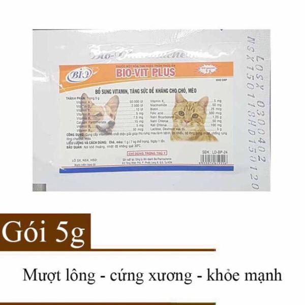 Combo 5 gói bột bổ sung vitamin tăng đề kháng cho chó mèo Bio Vit Plus 5g, sản phẩm tốt, chất lượng cao, cam kết như hình