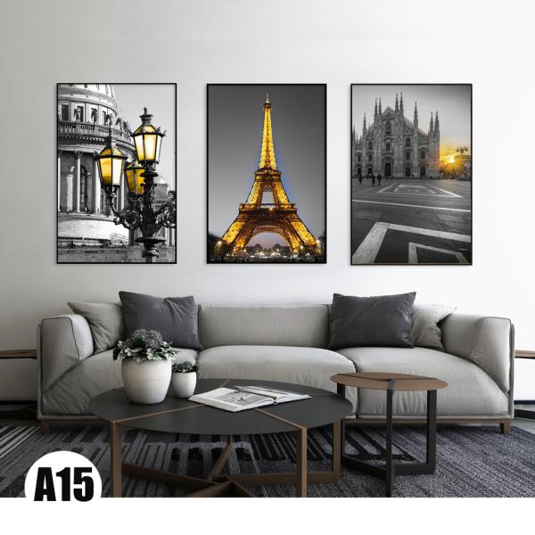 Bộ 3 bức tranh canvas Paris chiều