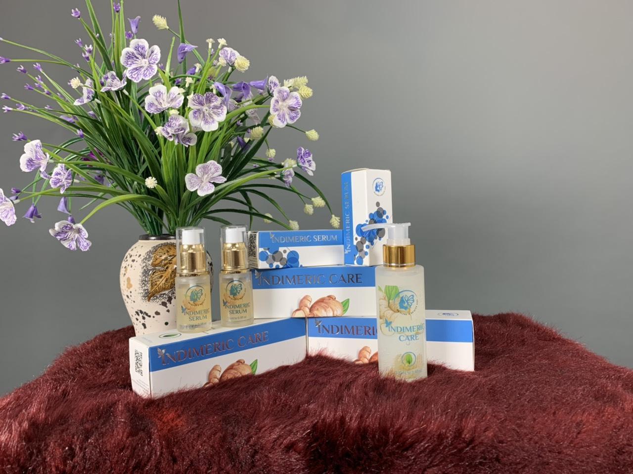 Combo trị mụn INDIMERIC chiết xuất từ nghệ trắng Ấn Độ (Serum & sửa rửa mặt) nhập khẩu