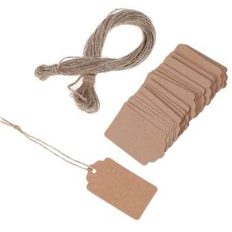 นักรบหญิง 100Pcs BLANK กระดาษคราฟท์เครื่องประดับแผ่นกระดาษตกแต่ง String ราคาป้ายแท็กพร้อมข้อความ 20 M
