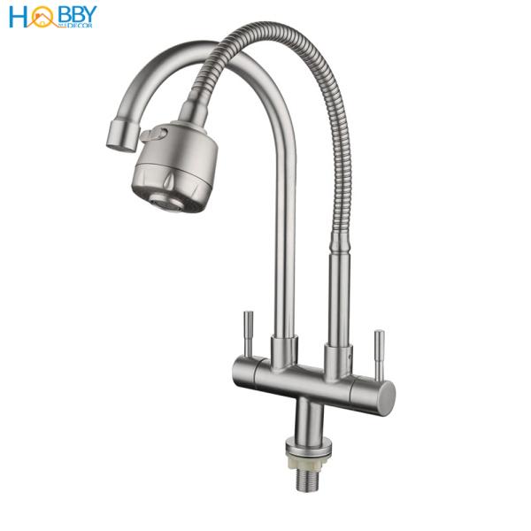 Bảng giá Vòi rửa chén 2 đầu lạnh lò xo có vòi tăng áp 2 chế độ phun HOBBY Home Decor LX2D chuẩn Inox 304 - 2 kiểu dáng