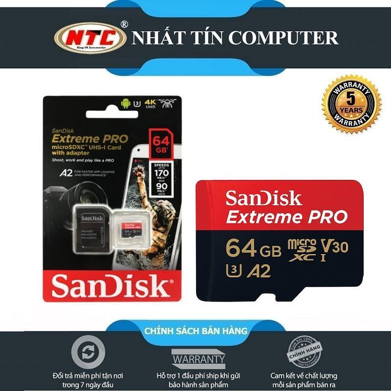 Thẻ Nhớ MicroSDXC SanDisk Extreme Pro 64GB A2 V30 U3 4K R170MB/s W90MB/s (Đen đỏ)