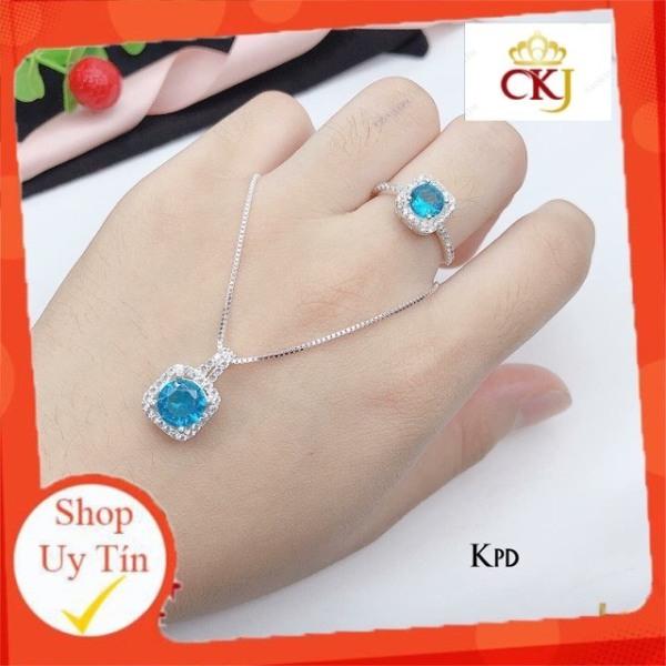 Sét bộ dây chuyền và nhẫn vuông bạc ta đính đá đủ màu -Bạc CKJ sáng đẹp, kèm bảo hành