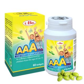[Hộp 60 viên] Bổ não AAA KIDS UBB - Bổ sung EPA, DHA, DPA tốt cho sự phát triển của não bộ thumbnail