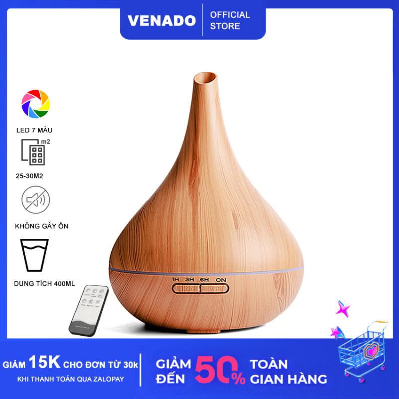 [Có Remote] Máy xông tinh dầu Bầu Tửu vân gỗ 400ml Nhựa abs led 7 màu tự động tắt khi hết nước Venado khuếch tán hương thơm tinh dầu, đuổi muỗi, phun sương tạo ẩm