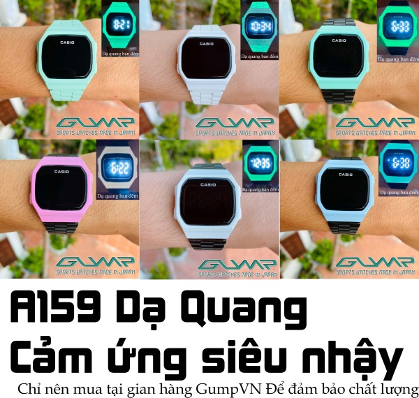 Đồng hồ nữ Casio A168 Mặt 38mm,Có dạ quang ban đêm,Nhiều mẫu,Dây thép không ghỉ,màn hình điện tử cảm ứng,Unisex,Bản đẹp cá tính siêu xinh nam nữ có thể đeo-GumpVN