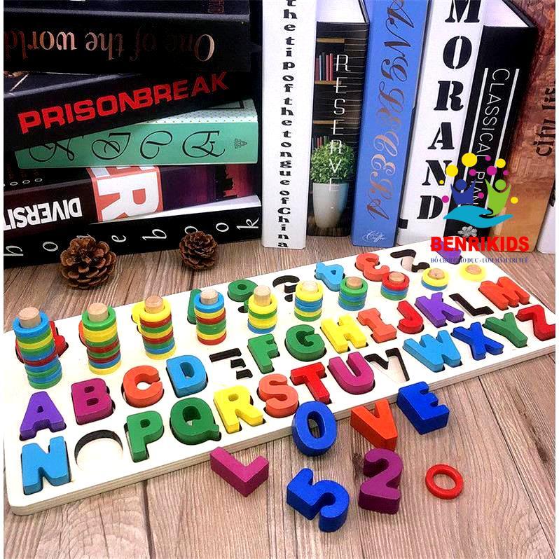 Giáo Cụ Montessori Cột Tính Học Đếm Và Ghép Chữ...